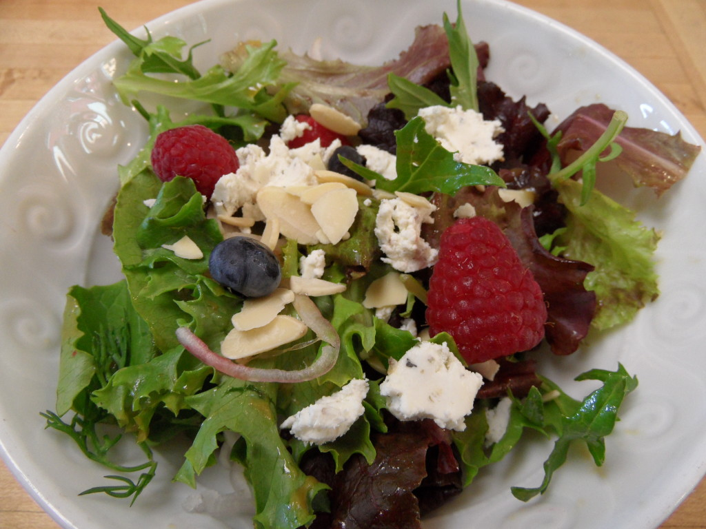 ... Shallots, Toasted Almonds and Goat Cheese with a Raspberry Vinaigrette